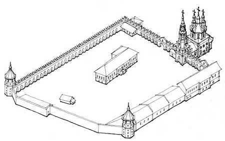 Освящение состоялось в 1709 году...  К настоящему времени сохранилась лишь восточная стена с воротами и Троицким...